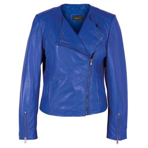 Women's Blue Leather Biker Jacket: Sue