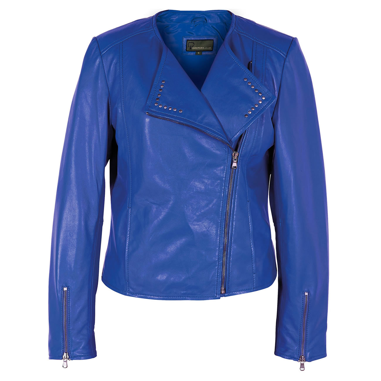 Women's Blue Leather Biker Jacket: Sue