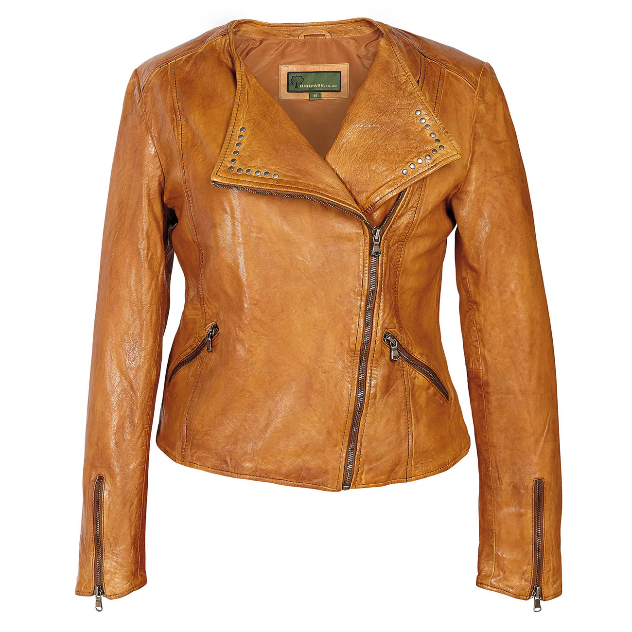 Ladies Leather Biker Jacket Tan Sally
