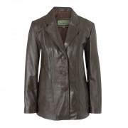 Ladies Leather Blazer Brown Jolie