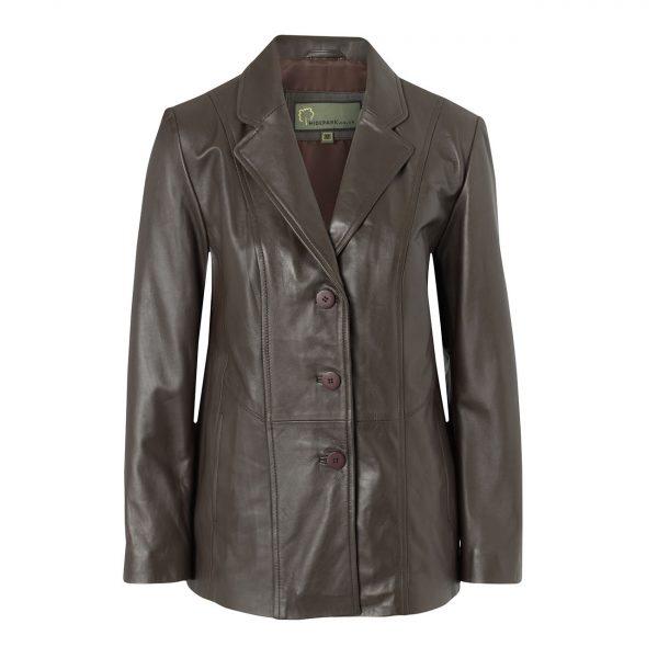 Ladies-Leather-Blazer-Brown-Jolie