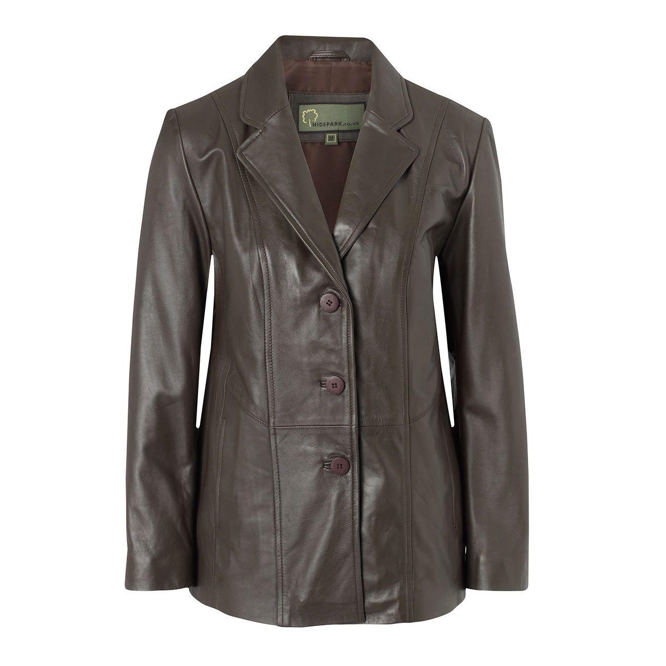 Ladies Leather Blazer Brown Jolie