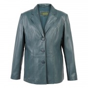 Ladies Leather Blazer Jolie Aqua