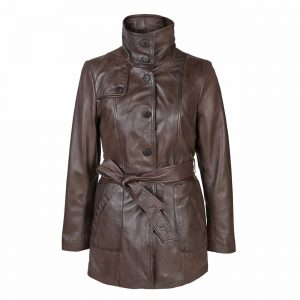 Ladies Leather Button Fasten Coat with Belt Brown Olga