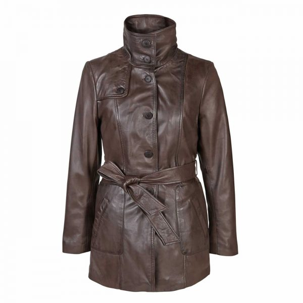 Ladies-Leather-Button-Fasten-Coat-with-Belt-Brown-Olga