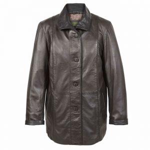 Ladies Leather Coat Brn Tara