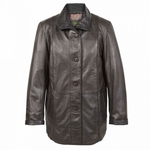Ladies Leather Coat Brn Tara