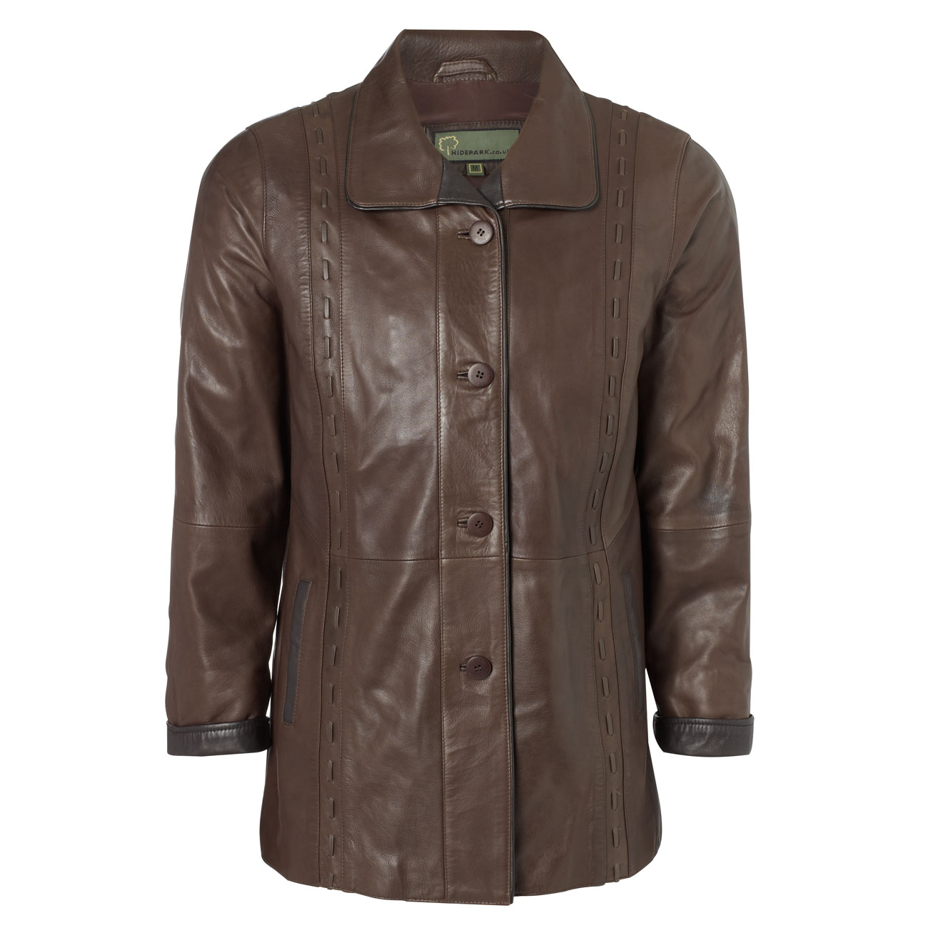 Ladies Leather Coat Brown Jenny