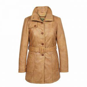 Ladies Leather Coat Button Fasten Tan Olga