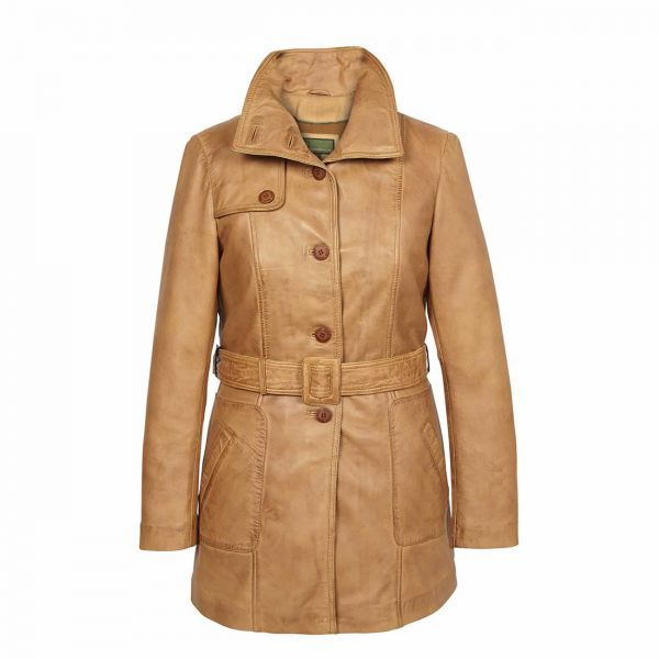 Ladies-Leather-Coat-Button-Fasten-Tan-Olga