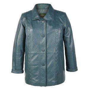Ladies Leather Coat Jenny Aqua