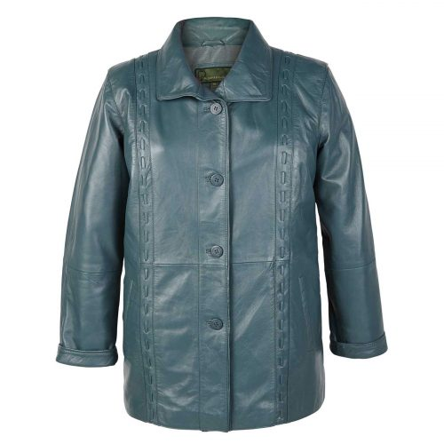 Ladies Leather Coat Jenny Aqua