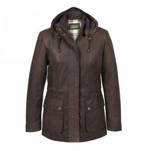 Ladies Leather Duffle Coat Brown Dora