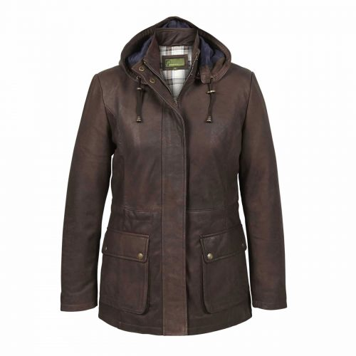 Ladies Leather Duffle Coat Brown Dora
