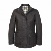 Ladies Leather Duffle Coat Grey Dora