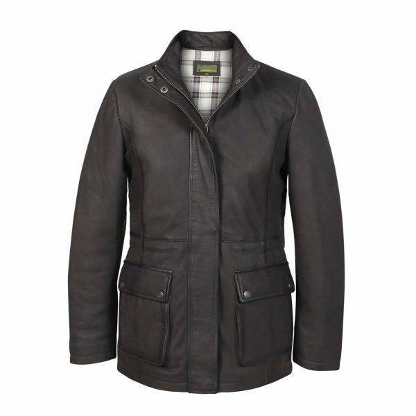 Ladies-Leather-Duffle-Coat-Grey-Dora