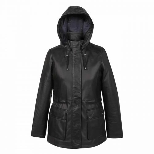 Ladies Leather Duffle coat Black Dora