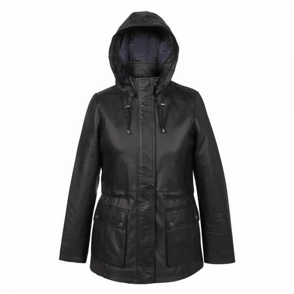 Ladies-Leather-Duffle-coat-Black-Dora