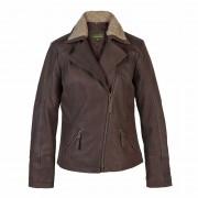 Ladies Leather Flying Jacket Brown Hayley