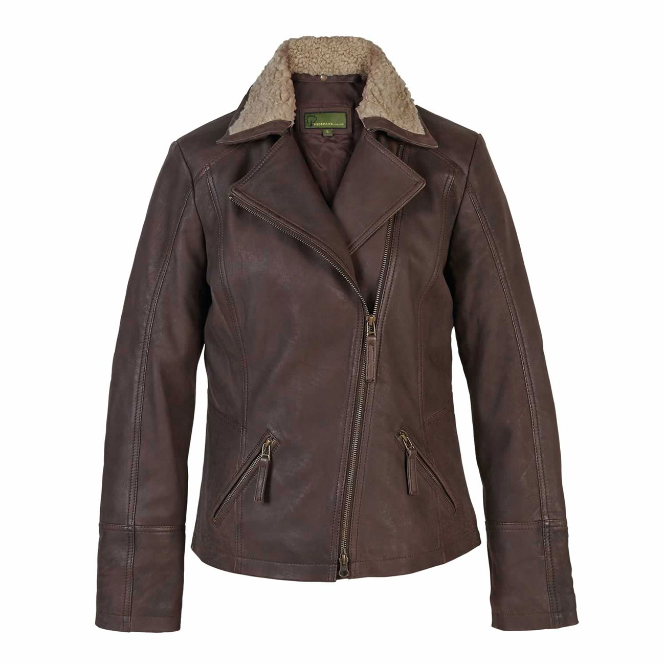 Ladies Leather Flying Jacket Brown Hayley