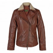 Ladies Leather Flying Jacket Rust Hana