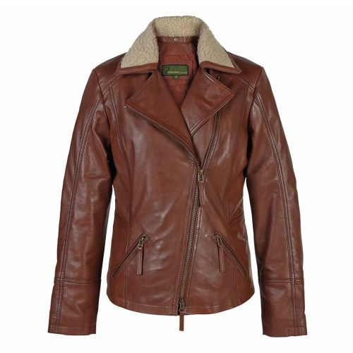 Ladies Leather Flying Jacket Rust Hana