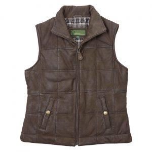 Ladies Leather Gilet Brown Pippa