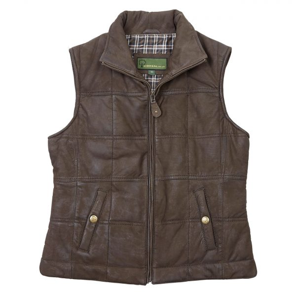 Ladies-Leather-Gilet-Brown-Pippa