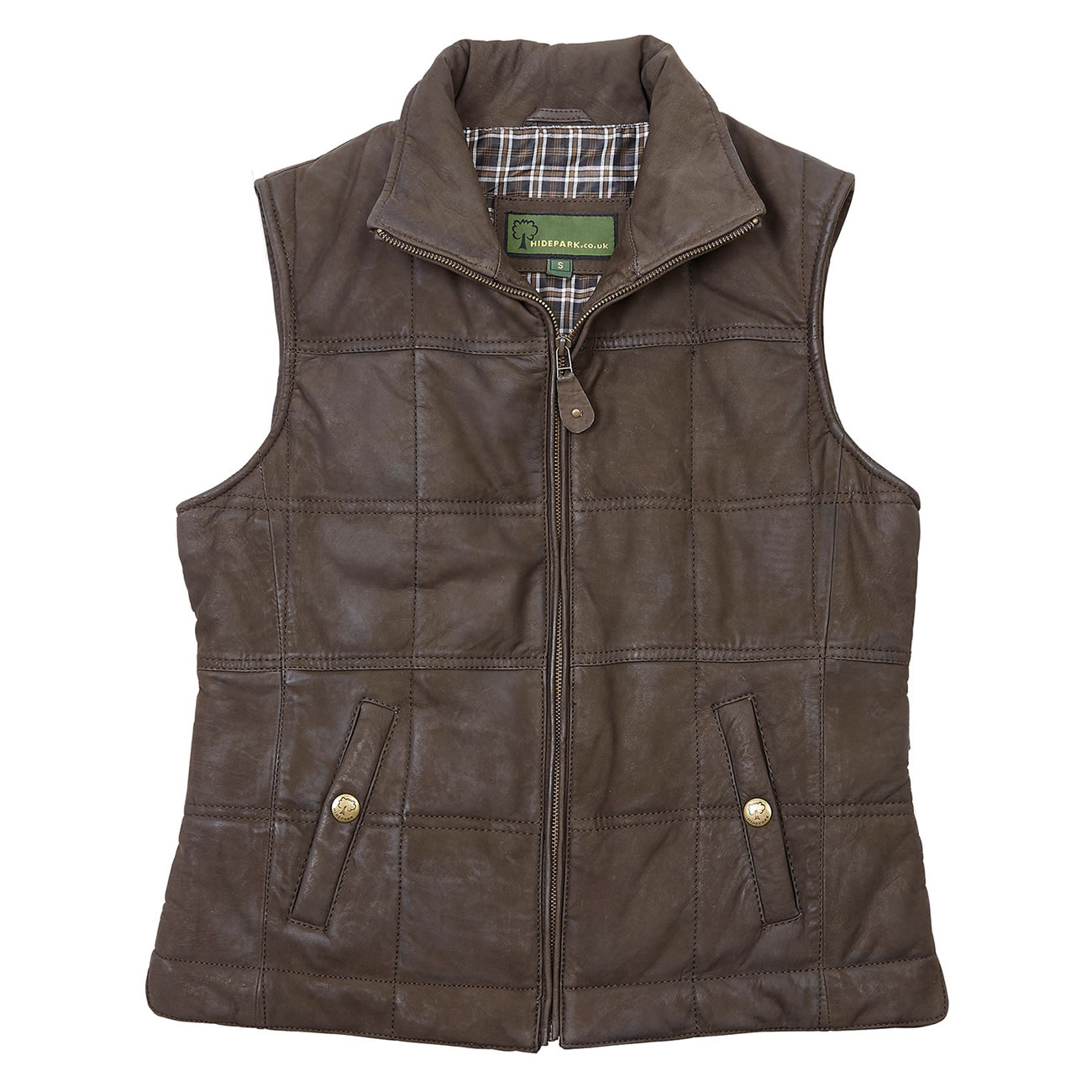 Ladies Leather Gilet Brown Pippa