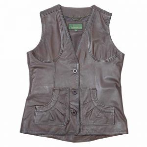 Ladies Leather Gilet Lyn Brown