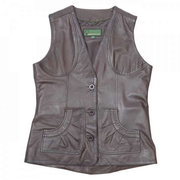 Ladies-Leather-Gilet-Lyn-Brown