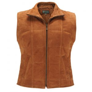 Ladies Leather Gilet Tan L