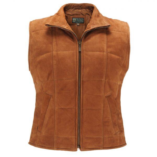 Ladies-Leather-Gilet-Tan-L06