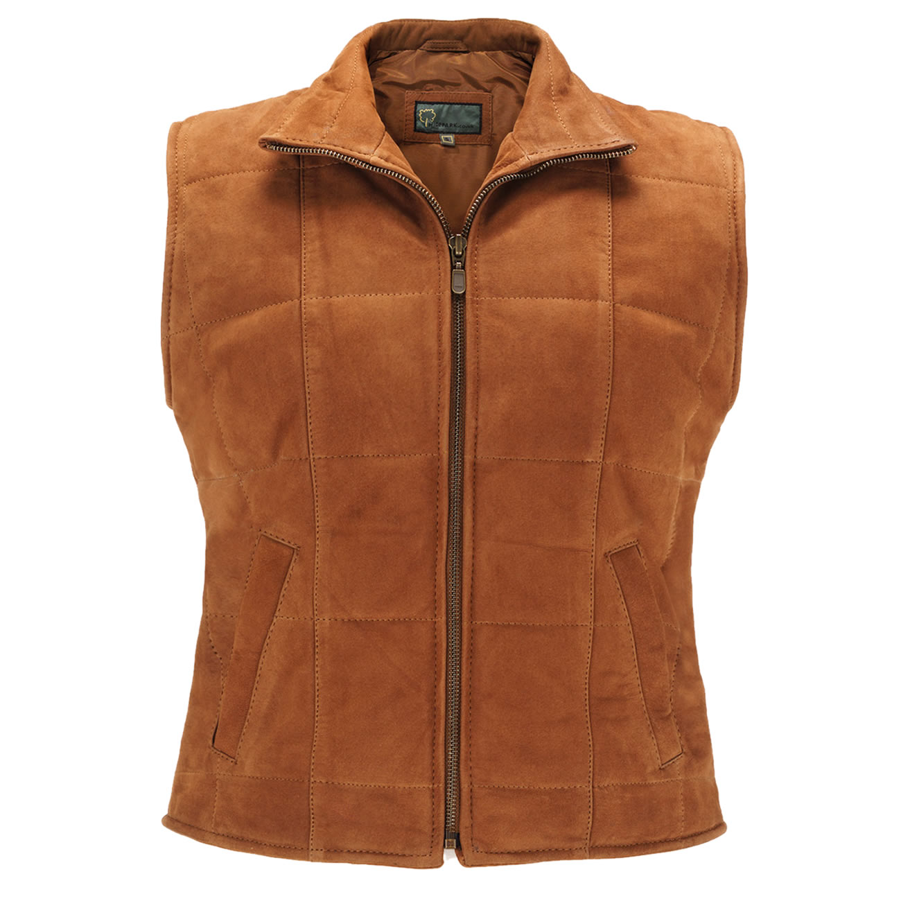 Ladies Leather Gilet Tan L