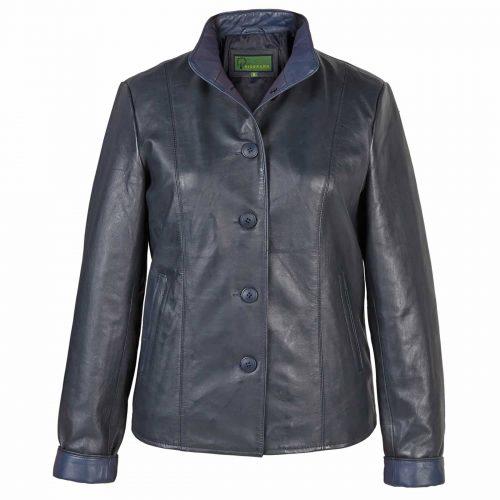 Ladies Leather Jacket Navy Lulu