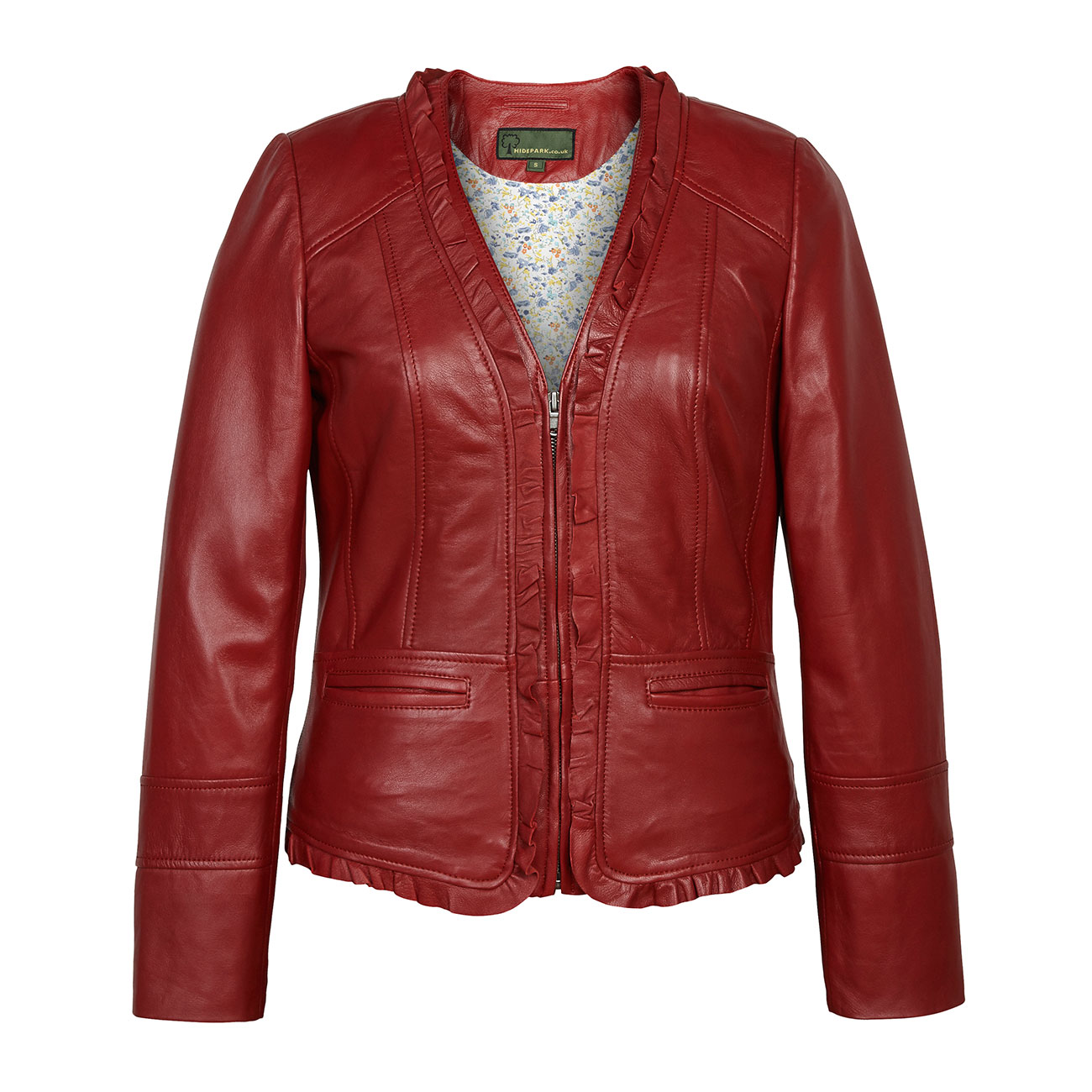 Women's Red Leather Jacket: Erin