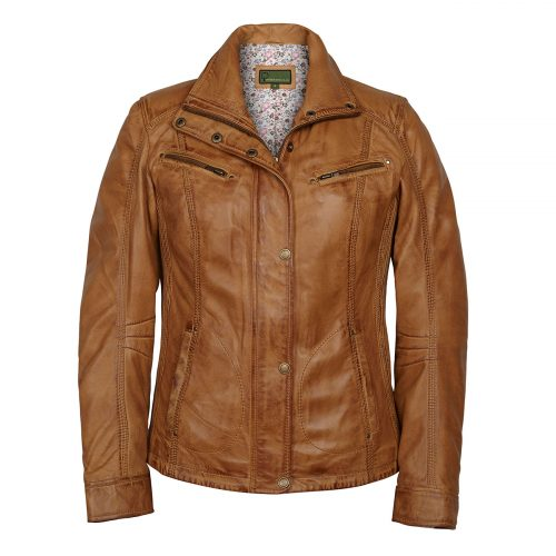 Ladies Leather Jacket Tan Kelly