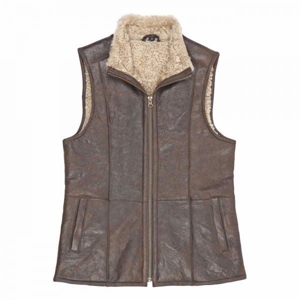 Ladies-Leather-Sheepskin-Gillet-Brown-Gilly
