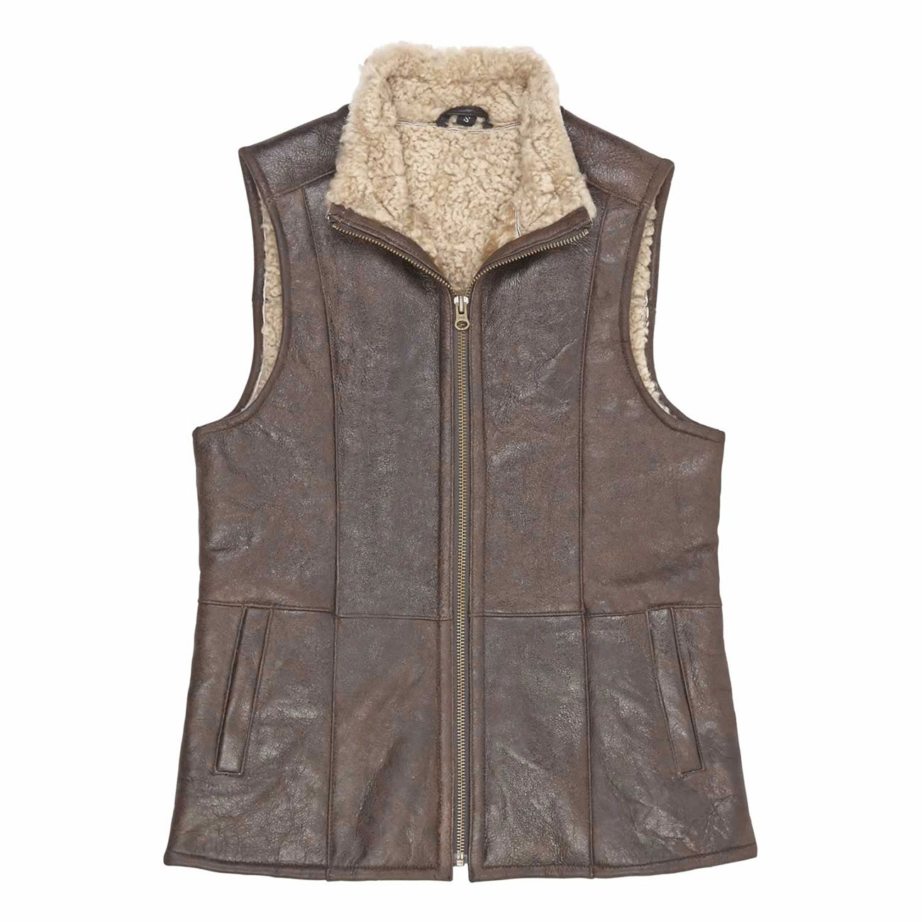 Ladies Leather Sheepskin Gillet Brown Gilly