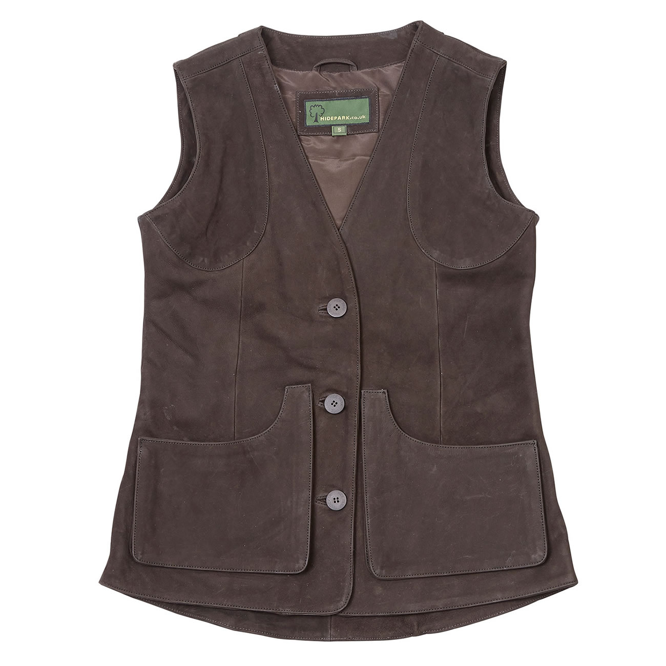 Ladies Leather Shooting Vest Brown Lorna