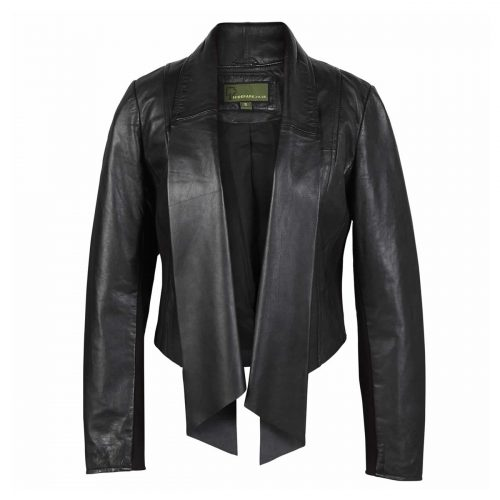 Ladies Leather Waterfall Jacket Black Lily