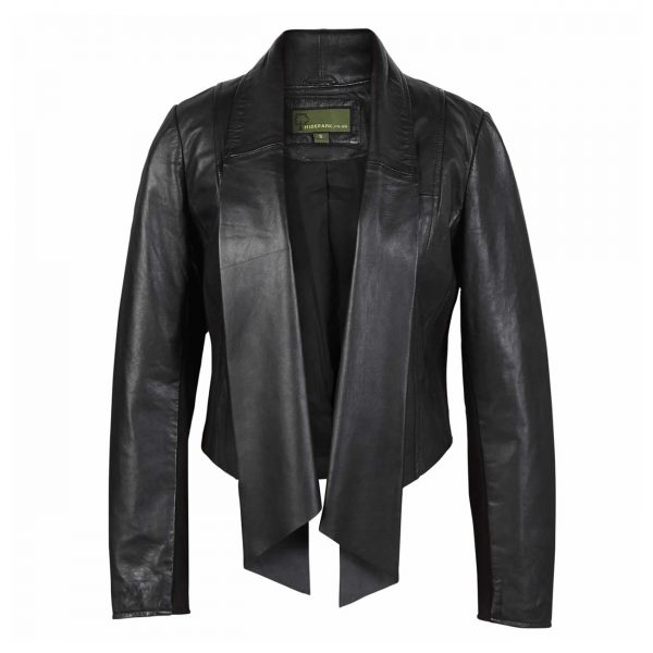 Ladies-Leather-Waterfall-Jacket-Black-Lily