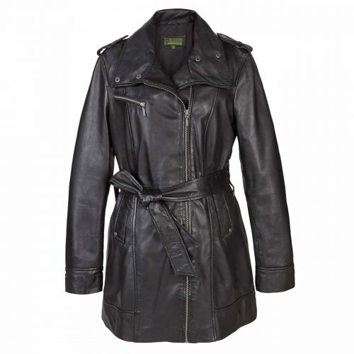 Ladies Leather Zip fasten coat Black Kati
