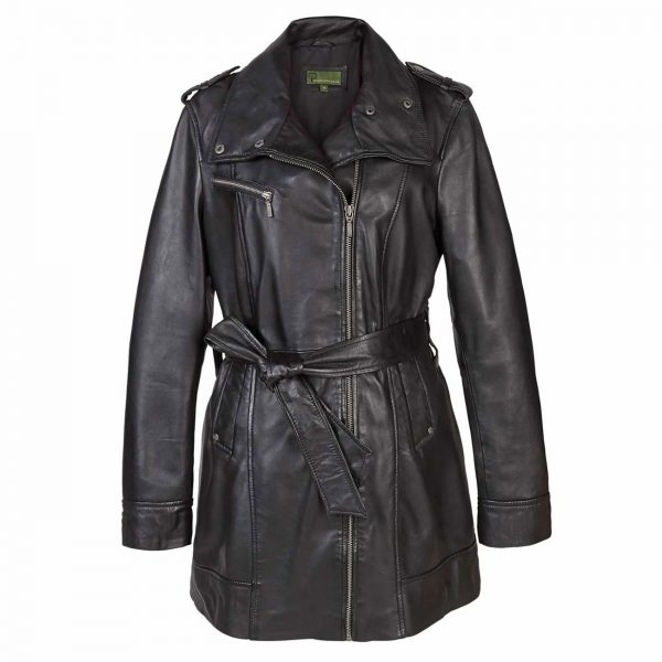 Ladies-Leather-Zip-fasten-coat-Black-Kati