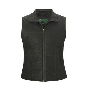 Ladies Leather gilet dark brown L