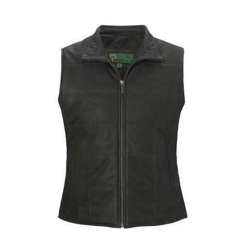 Ladies Leather gilet dark brown L