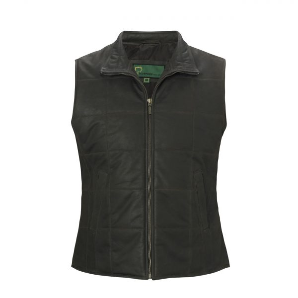 Ladies-Leather-gilet-dark-brown-L061