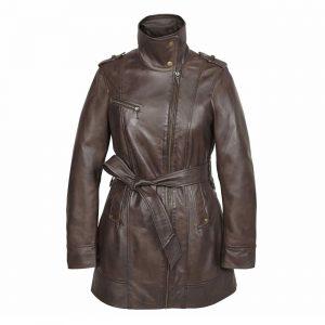 Ladies Leather zip fasten coat Brown Kati