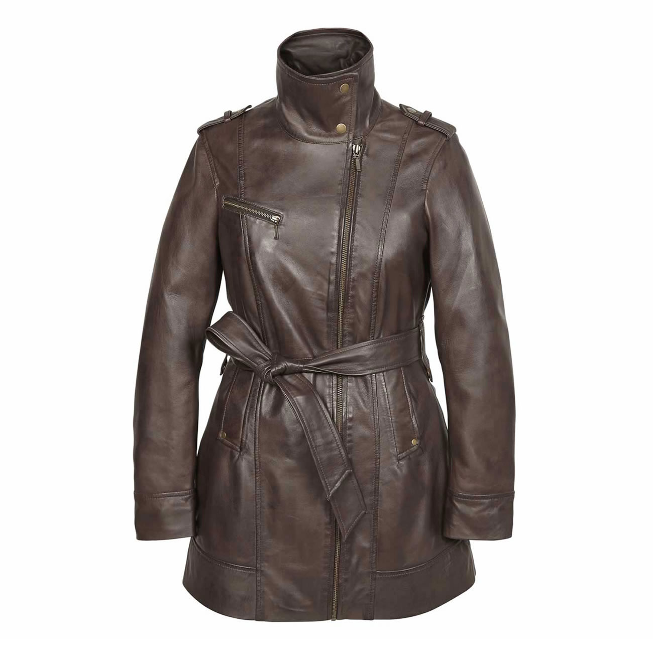 Ladies Leather zip fasten coat Brown Kati