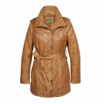 Ladies Leather zip fasten coat Tan Kati